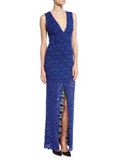 Alice + Olivia Kahlo V-Neck Lace Column Dress