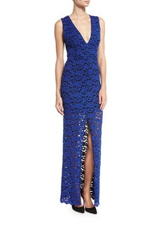 Alice + Olivia Kahlo V-Neck Lace Column Dress