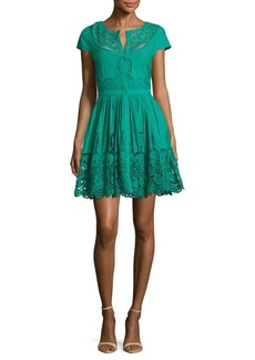Alice + Olivia Kaley Embroidered Button-Front Dress