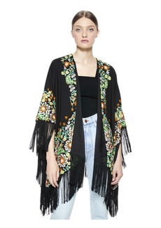 alice + olivia KAMALA EMBROIDERED PONCHO