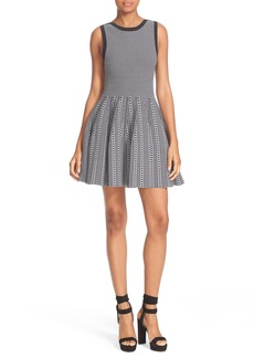 Alice + Olivia Kamilah Texture Stitch Fit & Flare Dress