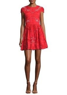 Alice + Olivia Karen Embroidered Party Dress