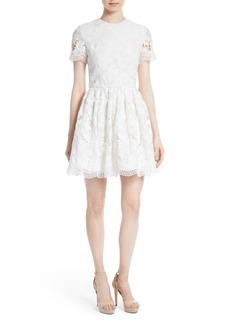 Alice + Olivia Karen Embroidered Skater Dress