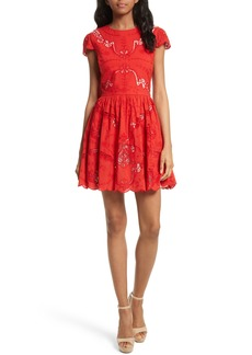 Alice + Olivia Karen Eyelet Embroidered Party Dress