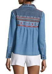 Alice + Olivia Karly Embroidered Chambray Top