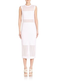 Alice + Olivia Karman Fitted Sheer Panel Dress