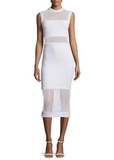 Alice + Olivia Karman Sleeveless Mesh-Trim Midi Dress