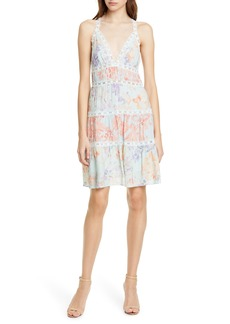 Alice + Olivia Karolina Lace Trim Halter Neck Minidress