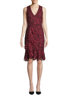 Alice + Olivia Katia Ruffle-Front Fitted Dress