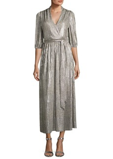 Alice + Olivia Katina Metallic Midi Cocktail Wrap Dress