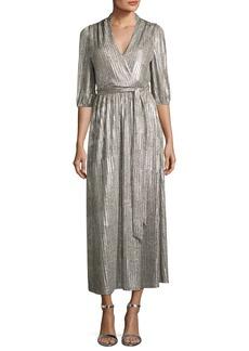 Alice + Olivia Katina Metallic Midi Cocktail Wrap Dress