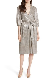 Alice + Olivia Katina Metallic Wrap Dress