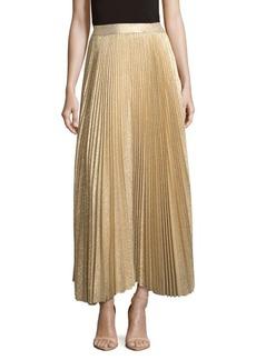 Alice + Olivia Katz Metallic Pleated Maxi Skirt