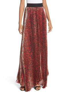 Alice + Olivia Katz Shimmer Pleat Silk Blend Maxi Skirt