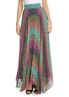 Alice + Olivia Katz Sunburst Pleat Maxi Skirt