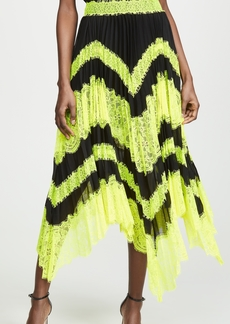 alice + olivia Katz Sunburst Pleated Insert Midi Skirt