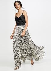 alice + olivia Katz Sunburst Pleated Maxi Skirt