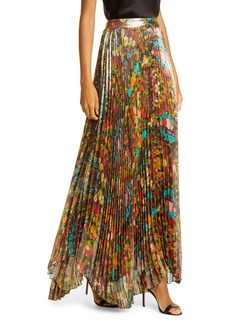 Alice + Olivia Katz Sunburst Pleated Maxi Skirt