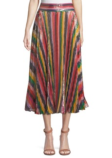 Alice + Olivia Katz Sunburst Pleated Metallic Striped Midi Skirt
