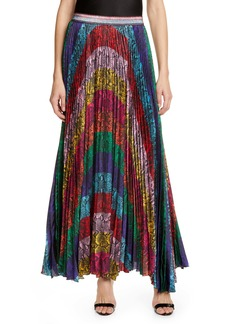 Alice + Olivia Katz Sunburst Snakeskin Print Pleated Maxi Skirt