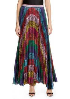 Alice + Olivia Katz Sunburst Snakeskin Print Pleated Maxi Skirt