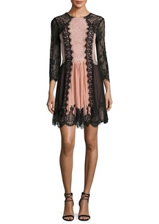 Alice + Olivia Kaylen Lace-Combo Bracelet-Sleeve Cocktail Dress