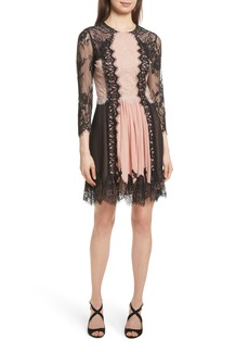 Alice + Olivia Kaylen Mixed Lace Dress