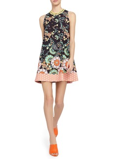 Alice + Olivia Keaton Crewneck Mixed Floral Minidress