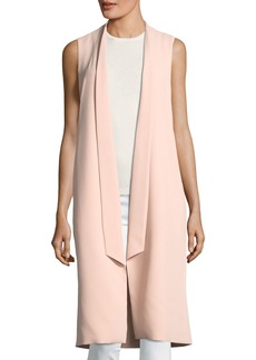 Alice + Olivia Keaton Open-Front Collar Long Vest