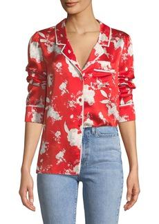 Alice + Olivia Keir Piped Silk Pajama-Style Top