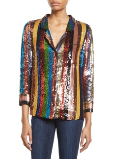 Alice + Olivia Keir Sequin Embellished Pajama-Style Top