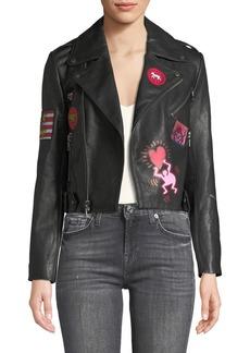 Alice + Olivia Keith Haring x Alice + Olivia Cody Cropped Leather Moto Jacket