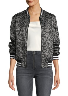 Alice + Olivia Keith Haring x Alice + Olivia Lonnie Reversible Bomber Jacket