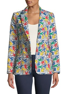 Alice + Olivia Keith Haring x Alice + Olivia Macey Printed Notch-Collar Blazer
