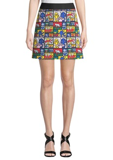 Alice + Olivia Keith Haring x Alice + Olivia Riley Wide-Waistband A-Line Short Skirt