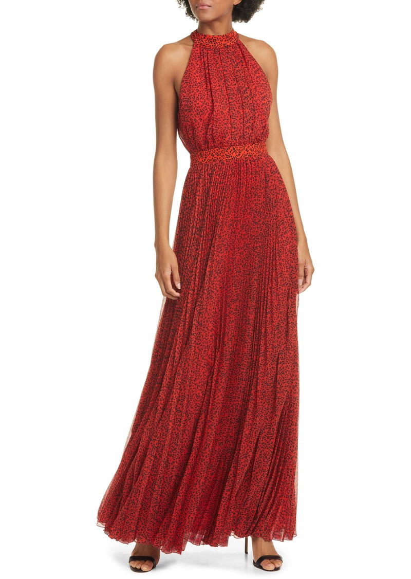 Alice + Olivia Kelissa Halter Print Maxi Dress