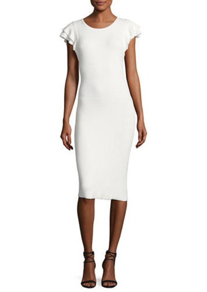 Alice + Olivia Kellin Ruffle-Sleeve Fitted Sweaterdress