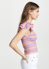 alice + olivia Kenia Ruffle Sleeve Shell Top