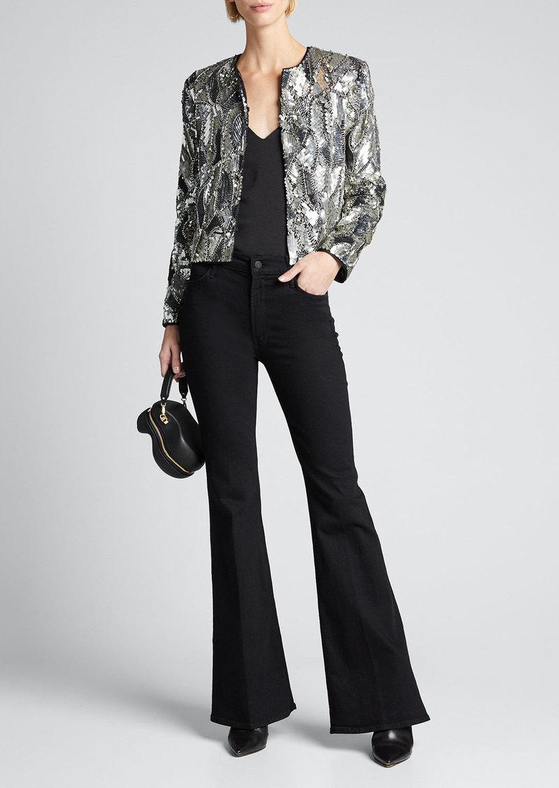 Alice + Olivia Kidman Embellished Strong-Shoulder Jacket