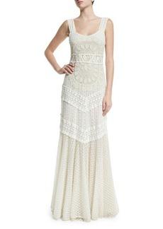 Alice + Olivia Kimberly Sleeveless Embroidered Maxi Dress