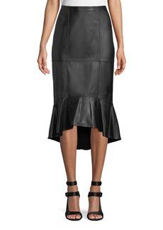 Alice + Olivia Kina Leather Midi Pencil Skirt w/ Flounce Hem