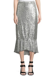 Alice + Olivia Kina Sequined Midi Pencil Skirt w/ Flounce Hem
