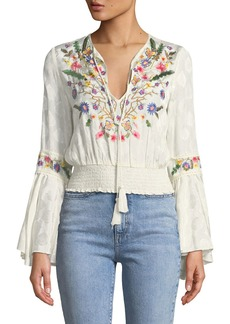 Alice + Olivia Kindra Embroidered Bell-Sleeve Smocked Top