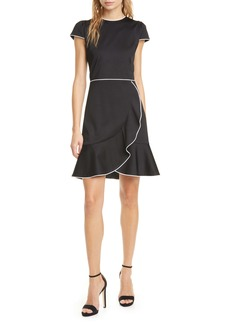 Alice + Olivia Kirby Piped Ruffle Dress
