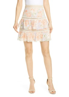 Alice + Olivia Kirsten Embroidered Eyelet Skirt