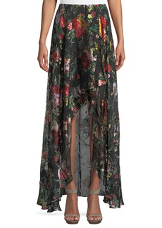 Alice + Olivia Kirstie Cascade Floral-Print Overlap Skirt