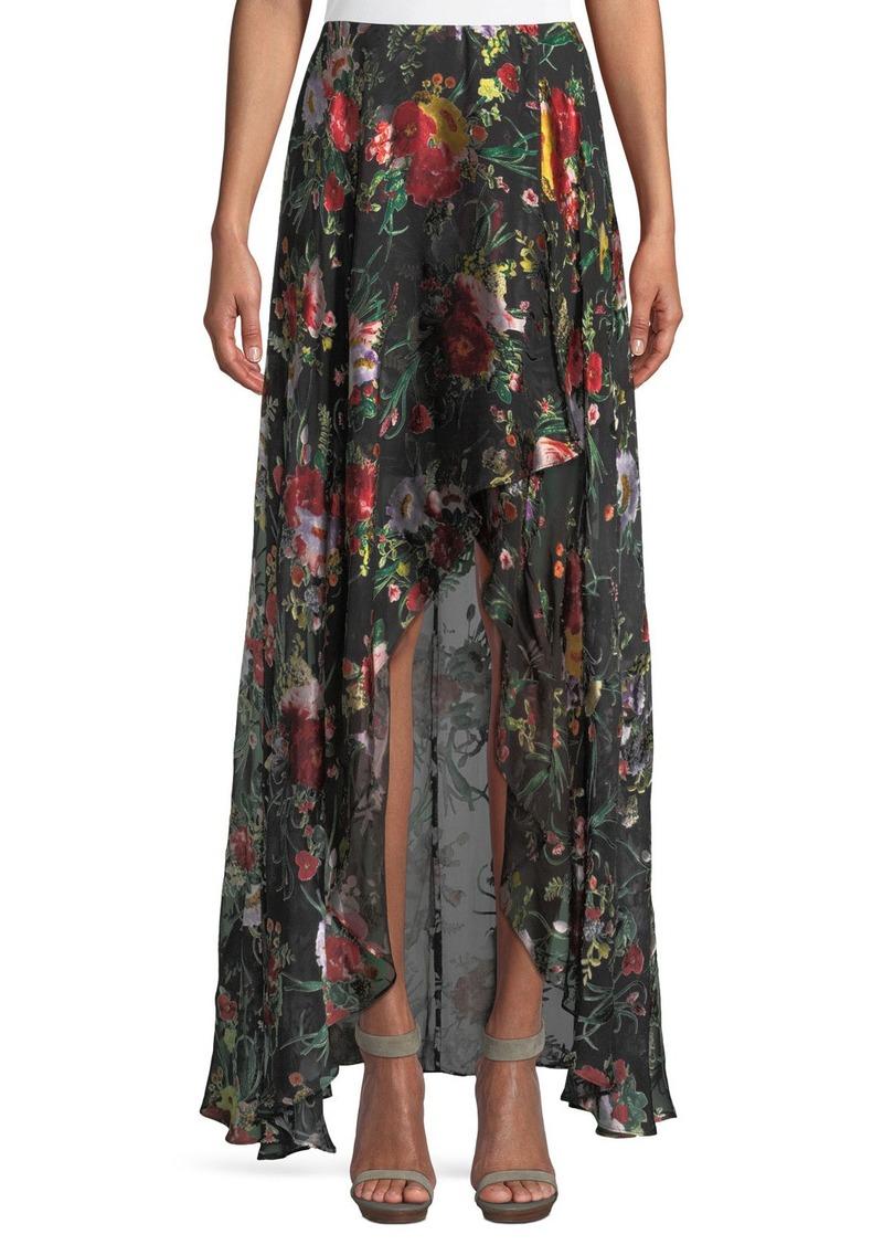 Alice + Olivia Kirstie Cascade Floral-Print Overlap Skirt