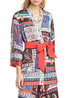 Alice + Olivia Koko Patchwork Print Belted Jacket