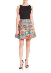 Alice + Olivia Kourtney Havana Print A-Line Dress