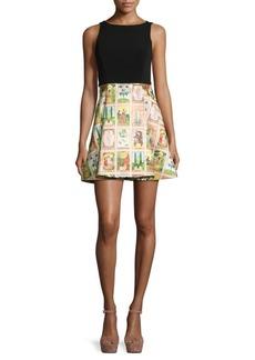 Alice + Olivia Kourtney Pleated Fit-&-Flare Dress
